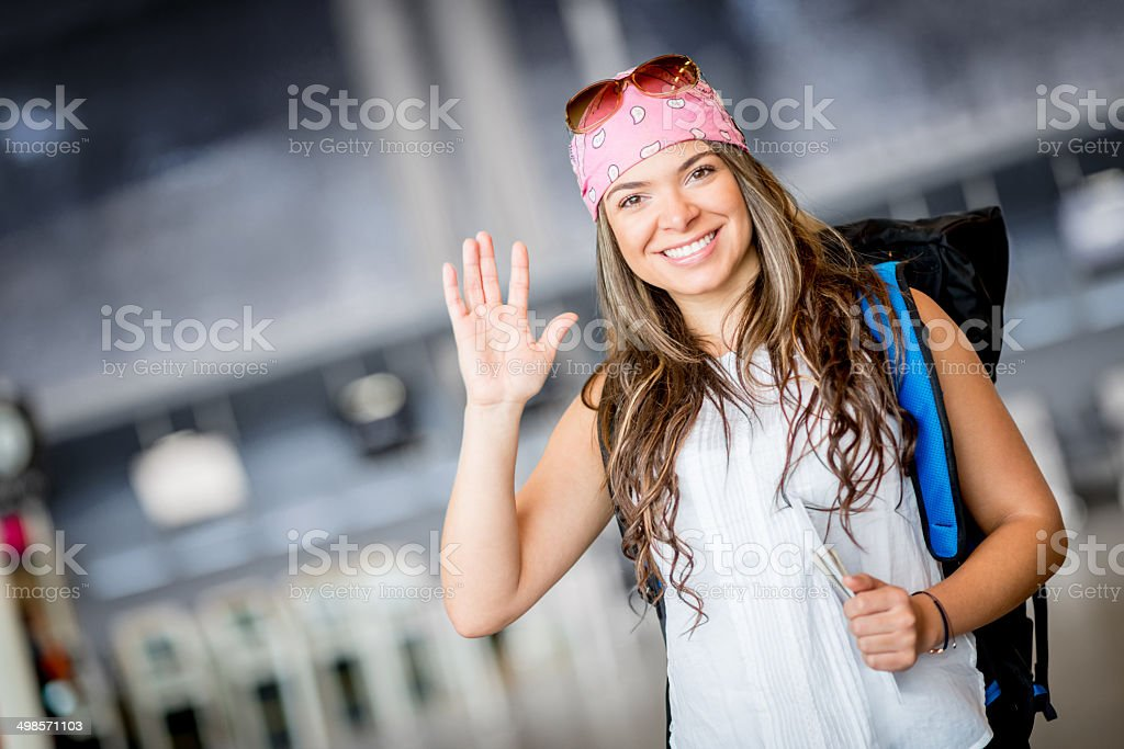 Happy woman traveling stock photo