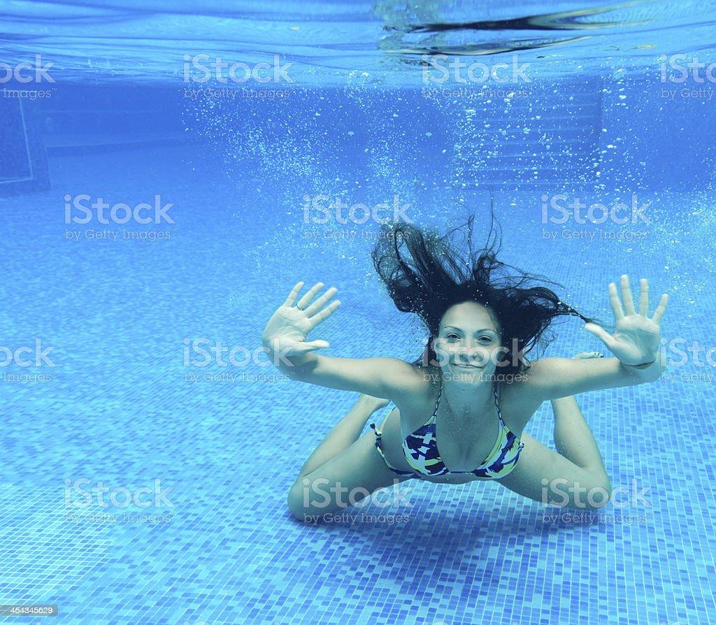 happy woman underwater royalty-free stock photo