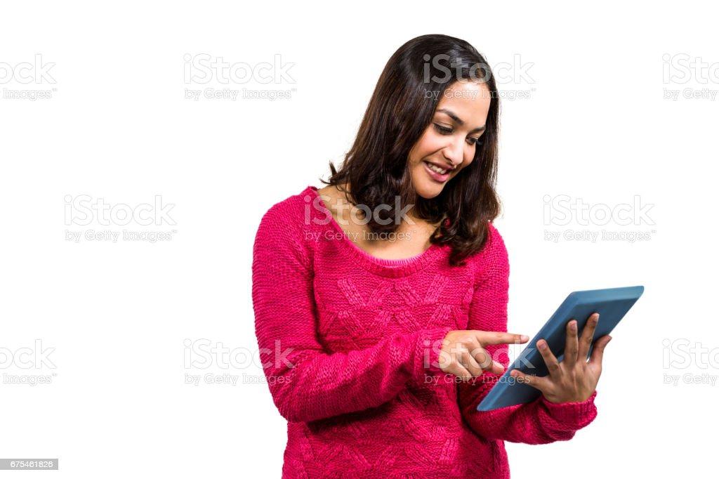 Femme heureus'à l'aide de Tablette numérique photo libre de droits