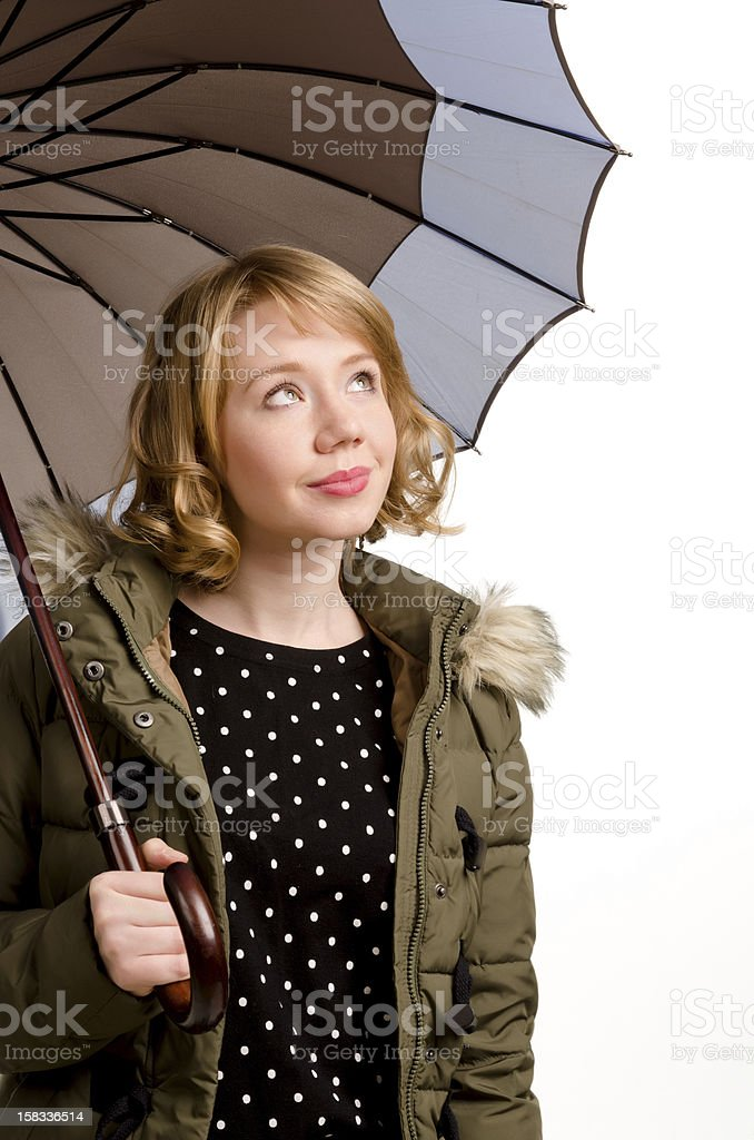 Happy woman watching the weather royalty-free stock photo