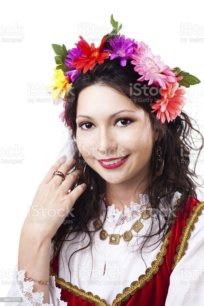 Happy woman wear wreath of flowers royalty-free stock photo