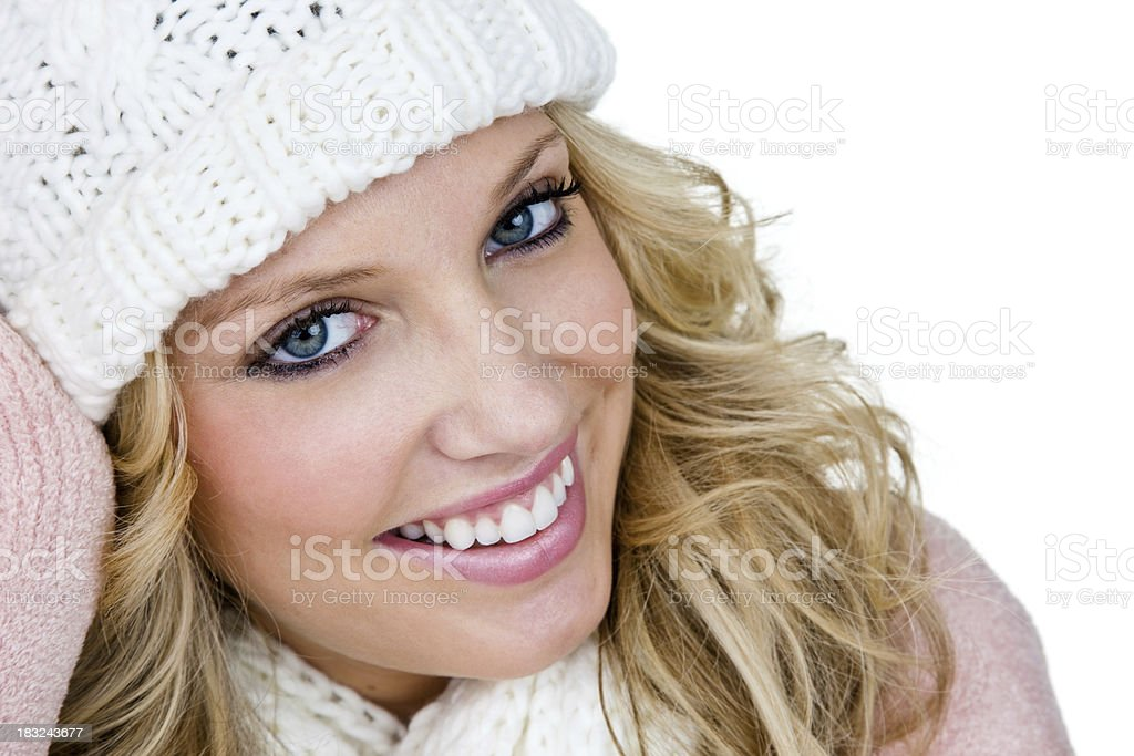 Happy woman wearing winter clothing royalty-free stock photo