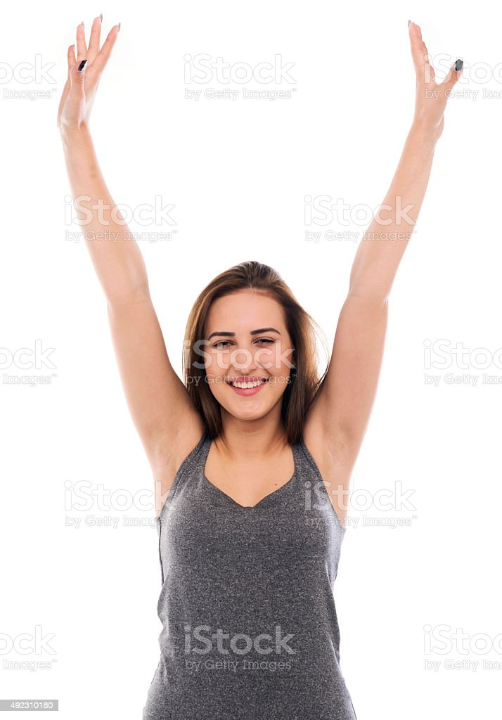 Happy woman winning stock photo