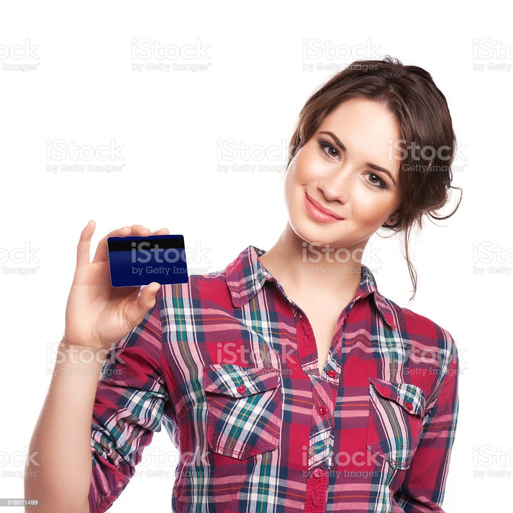 Happy woman  with a credit card stock photo