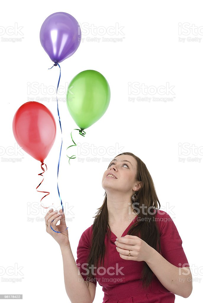 happy woman with balloons royalty-free stock photo