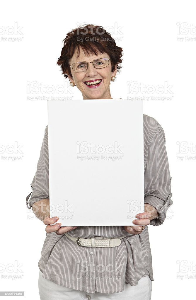 Happy Woman with Blank Sign royalty-free stock photo