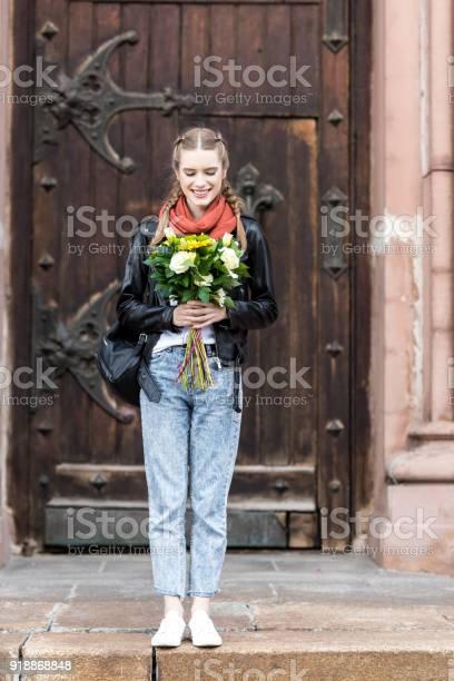 Happy woman with bouquet of flowers picture id918868848?b=1&k=6&m=918868848&s=612x612&h=ylenm3srhhq8 zj9nu1kj1uujiqcpuwxzvu0qvynjsa=