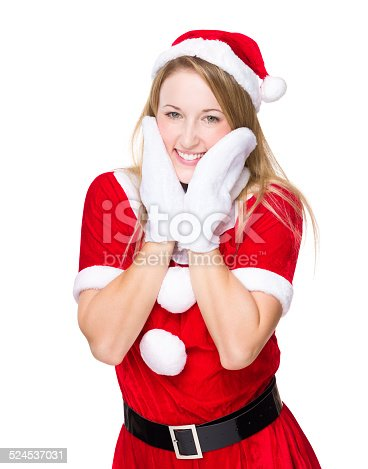 istock Happy woman with christmas party dress 524537031
