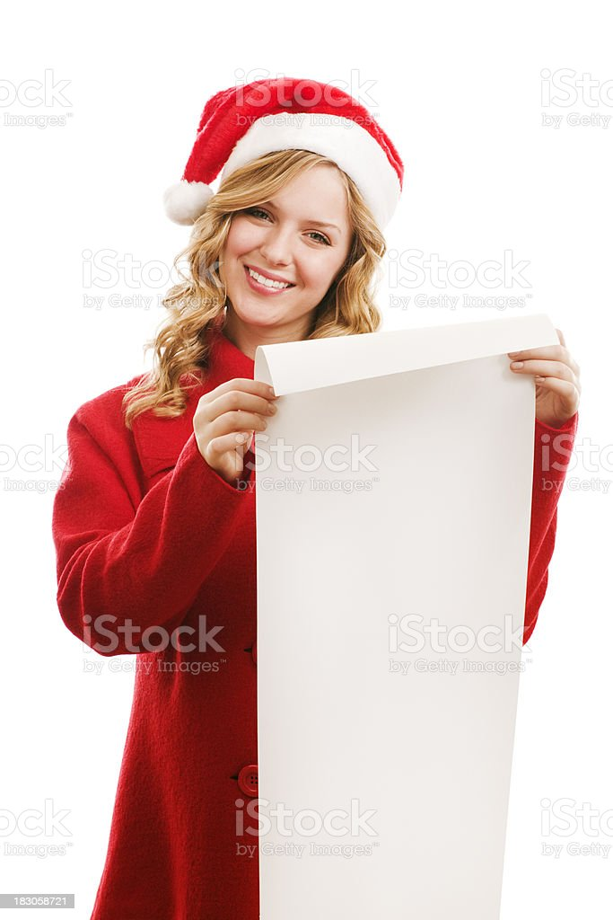 Happy Woman with Christmas Wish List royalty-free stock photo