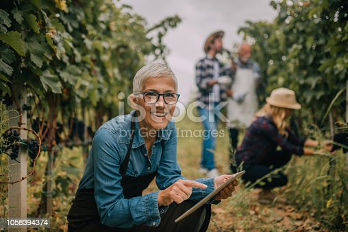 1063236916 istock photo Happy woman with digital tablet 1058394374