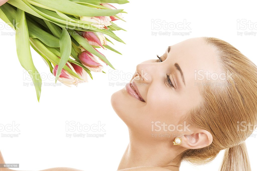 happy woman with flowers royalty-free stock photo