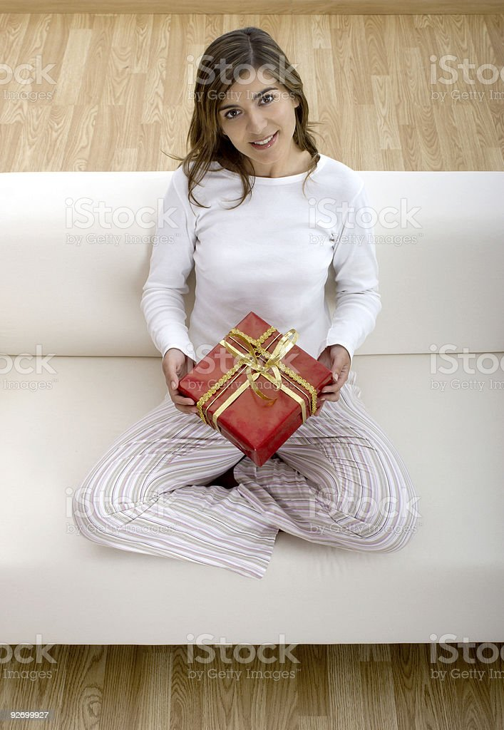 Happy woman with gifts royalty-free stock photo
