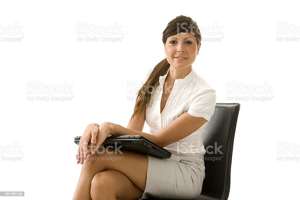 happy woman  with laptop royalty-free stock photo