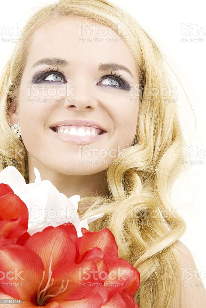 happy woman with lily flowers royalty-free stock photo
