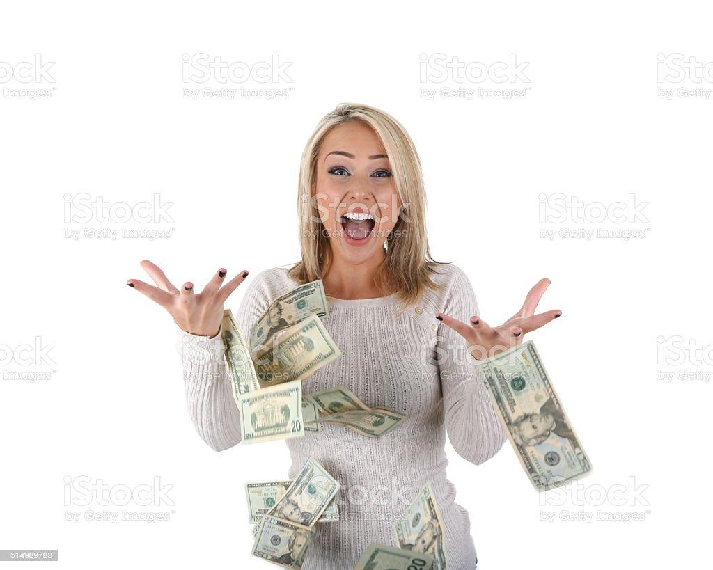 happy woman with money stock photo