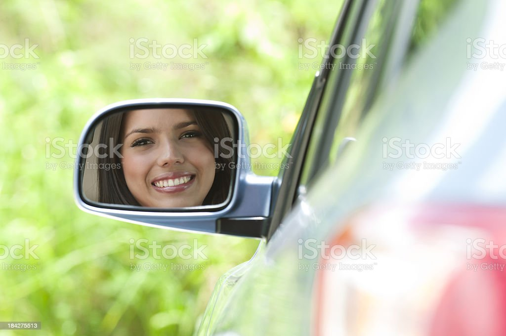 Happy Woman With New Car royalty-free stock photo