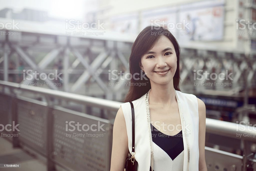 Happy Woman with Shopping Center Background - XXXLarge royalty-free stock photo