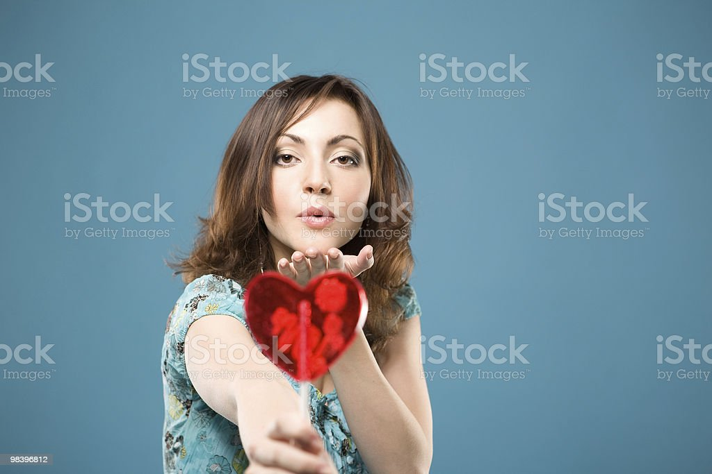 Happy woman with sweet heart royalty-free stock photo