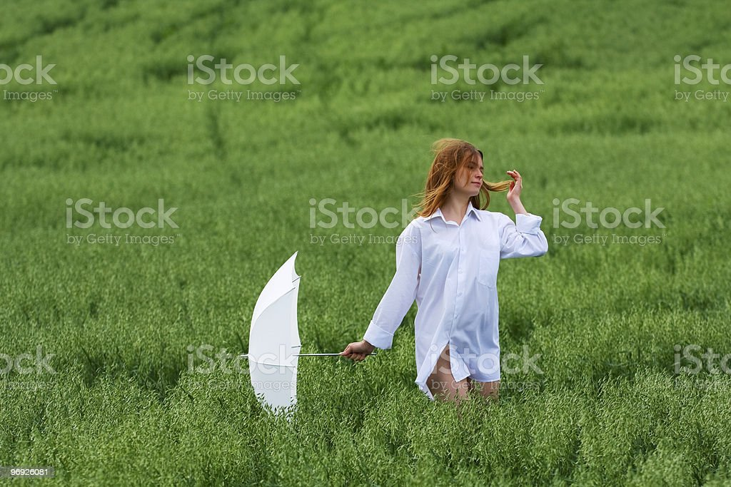 Happy woman with umbrella royalty-free stock photo