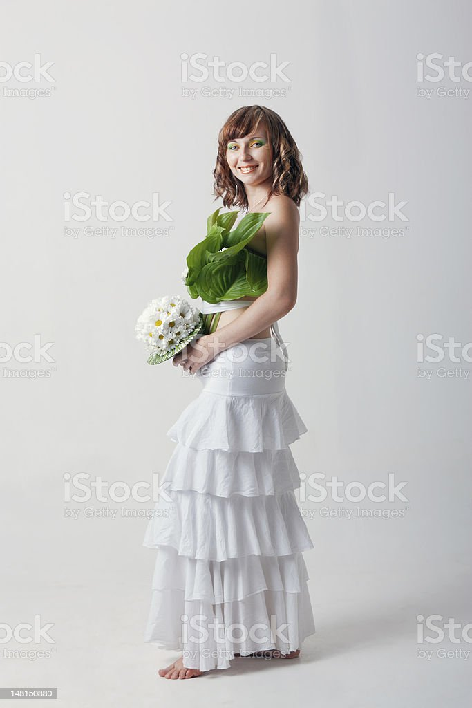 happy woman with wedding bouquet royalty-free stock photo