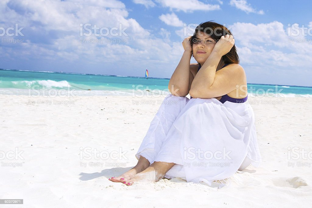 happy woman with white sarong royalty-free stock photo