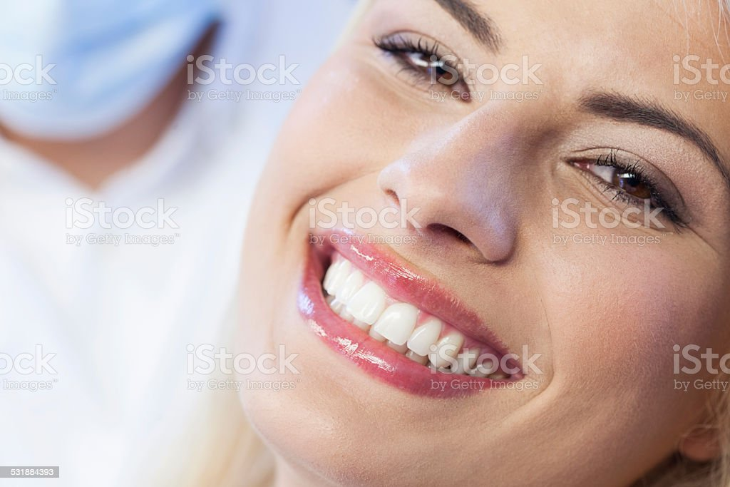 Happy woman with white smile stock photo