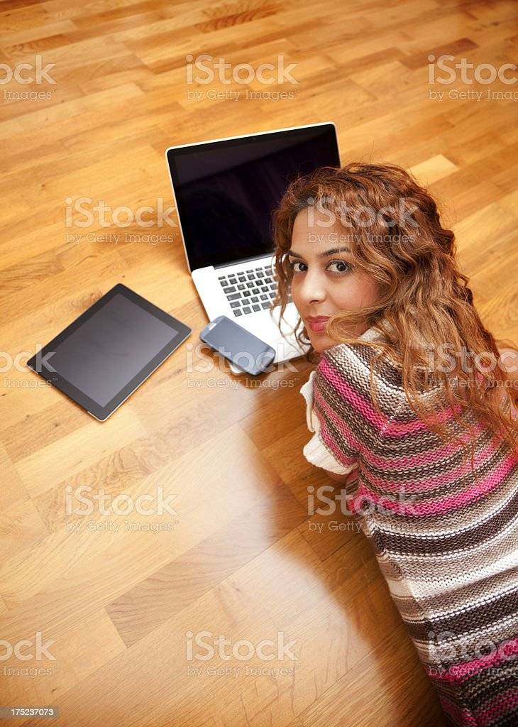 Happy woman working royalty-free stock photo