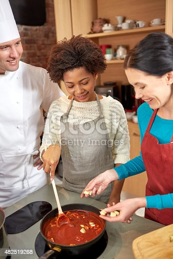 istock happy women and chef cook cooking in kitchen 482519268