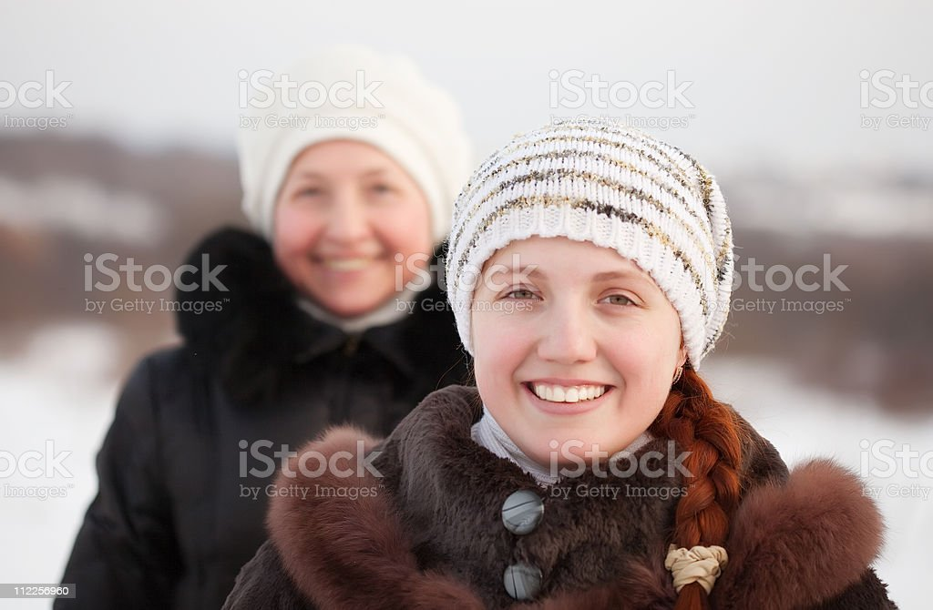 happy women in winte royalty-free stock photo