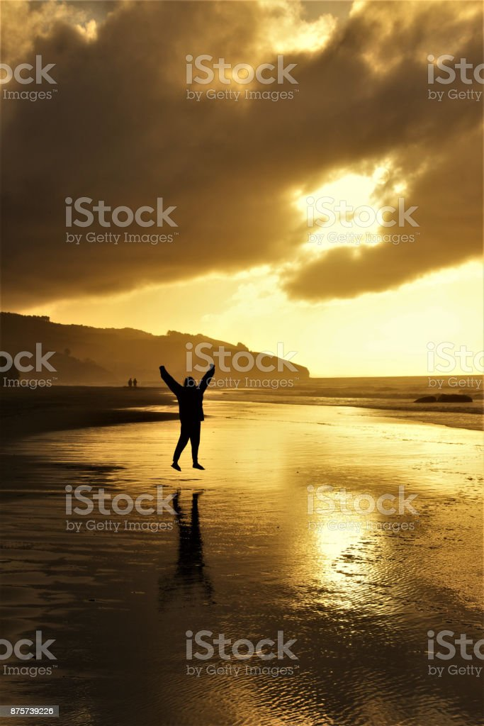 Happy Women jumping in front of the Sunset stock photo