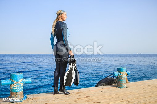Pretty scuba diver,  attractive, vital, mature women. ready to go scuba diving or snorkeling. Dressed in a wet suit, diving mask transparent.  Long blonde hair, beautiful blue eyes. The blue sea gives the space for the bloks of text or additional information.