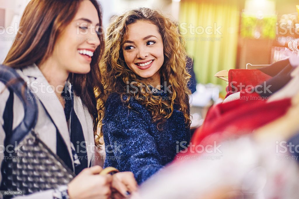 Happy women shopping stock photo