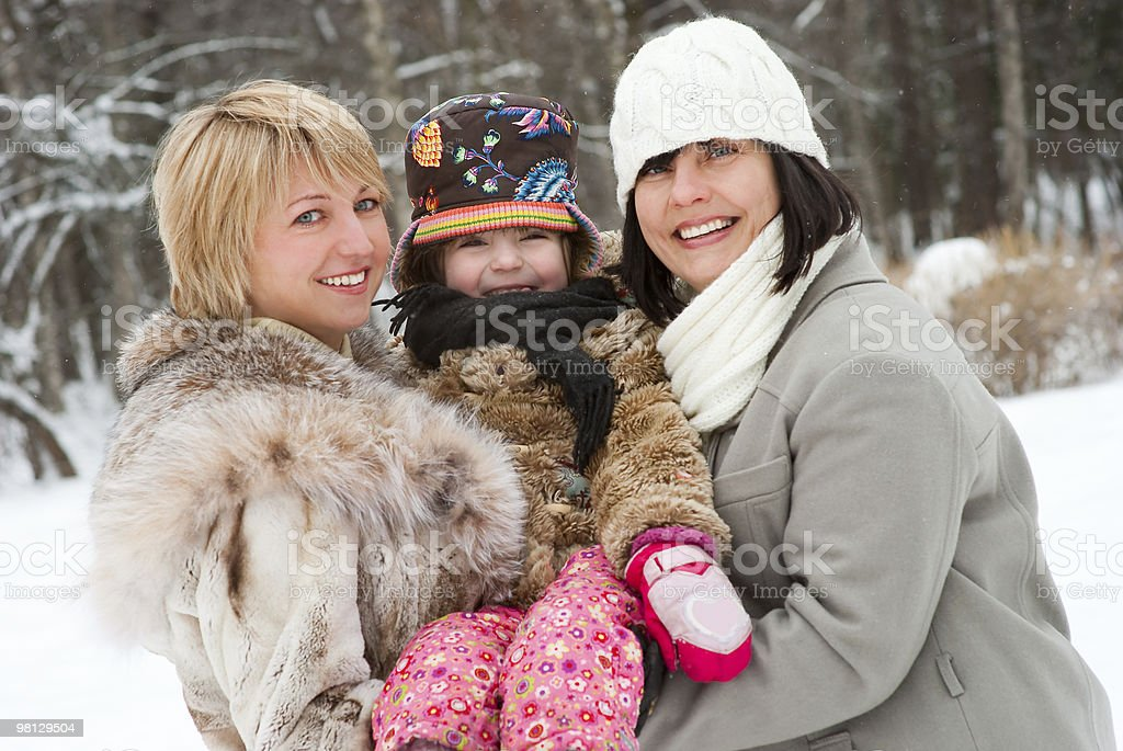 Happy women with daughter royalty-free stock photo