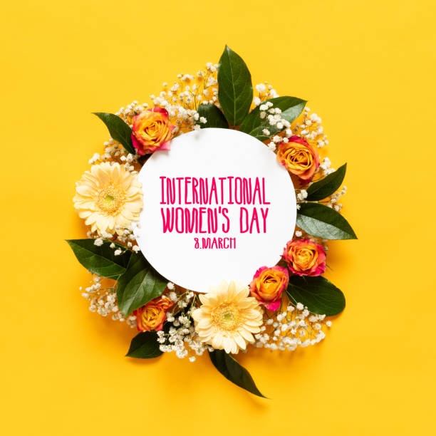 happy women's day background. floral flat lay greeting card template with beautiful various flowers. - womens day stock photos and pictures