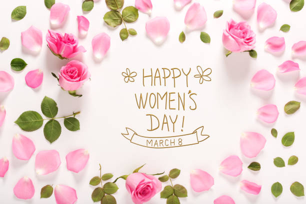 Happy Women's Day message with roses and leaves stock photo