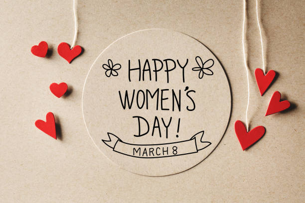 快樂的婦女日消息與小心臟 - womens day 個照片及圖片檔