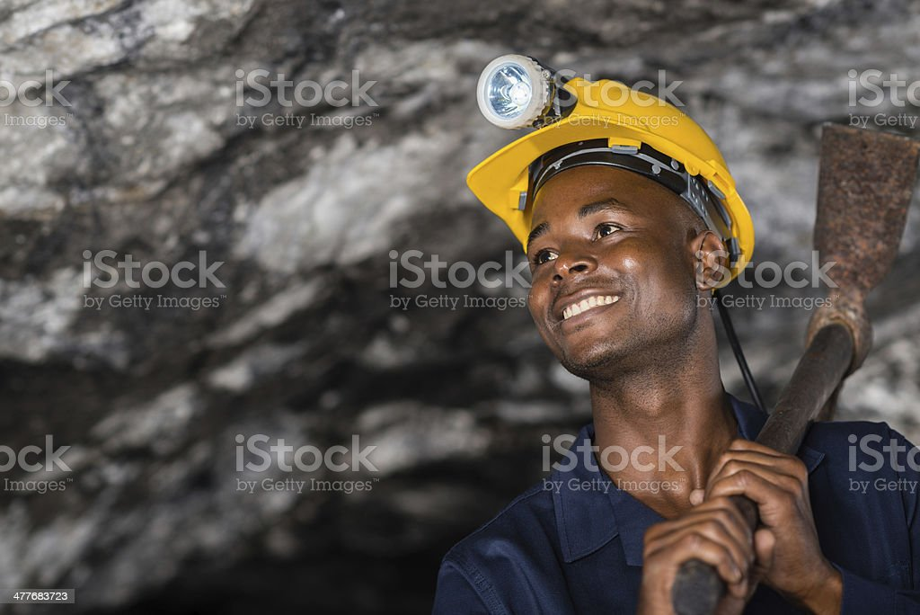 Happy worker at a mine stock photo