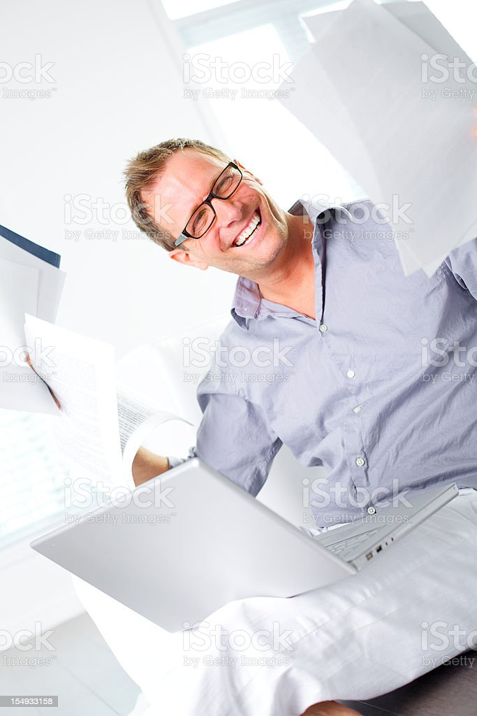 happy worker  smiling with documents stock photo