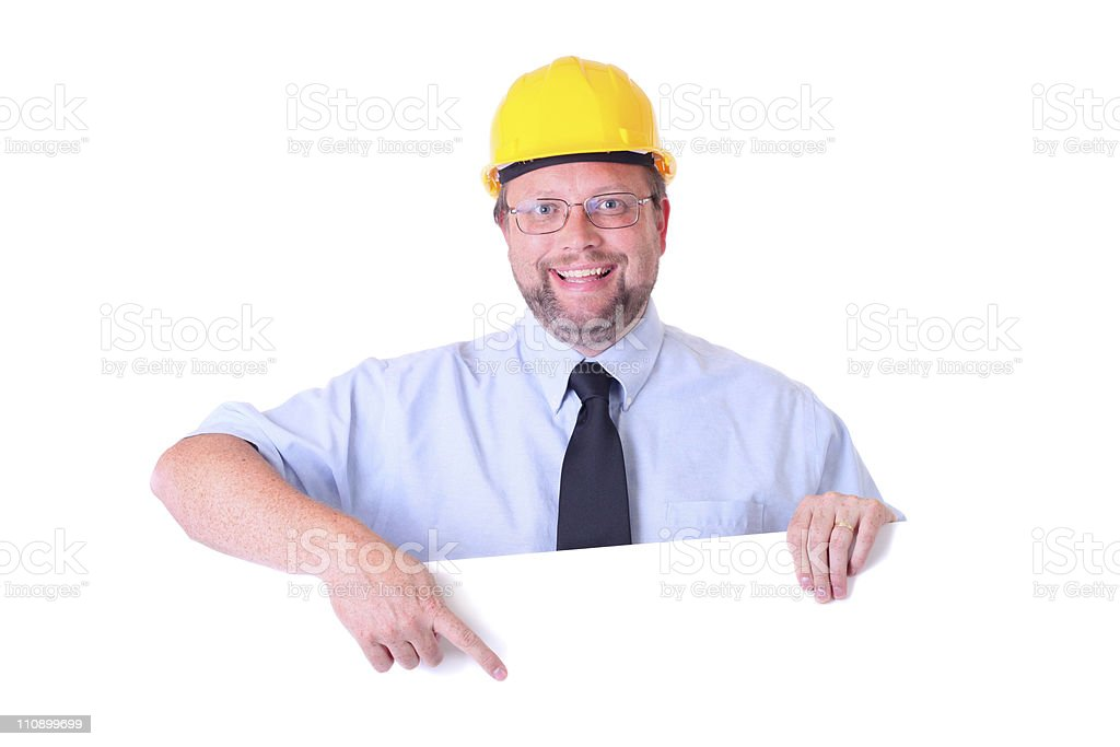 happy worker with sign royalty-free stock photo