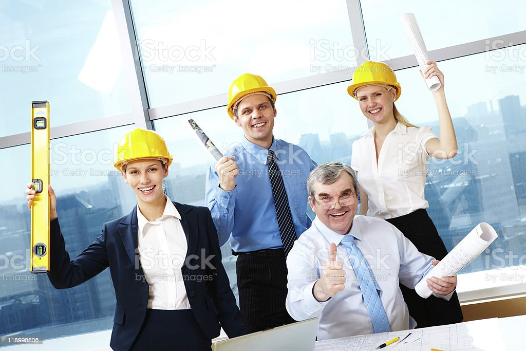 Happy workers royalty-free stock photo
