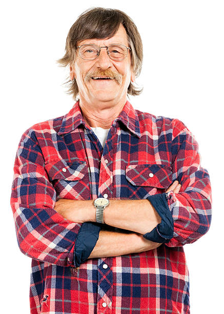 Happy Working Class Man (Isolated on White)  plaid shirt stock pictures, royalty-free photos & images
