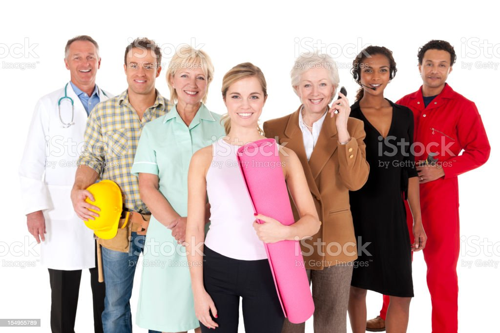 Happy Working People Isolated on White royalty-free stock photo