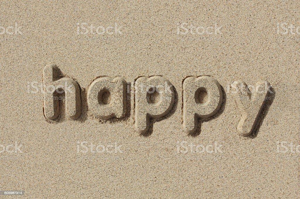 Happy written in sand letters - foto de stock