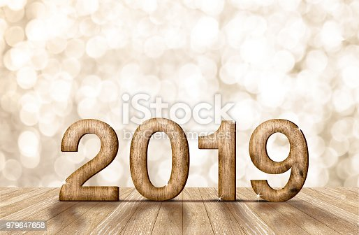 istock 2019 happy year wood number in perspective room with sparkling bokeh wall and wooden plank floor. 979647658