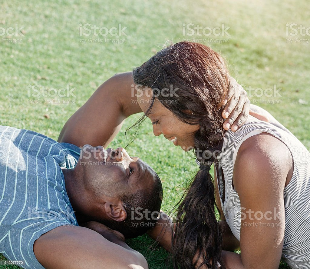 Happy Young African American couple stock photo