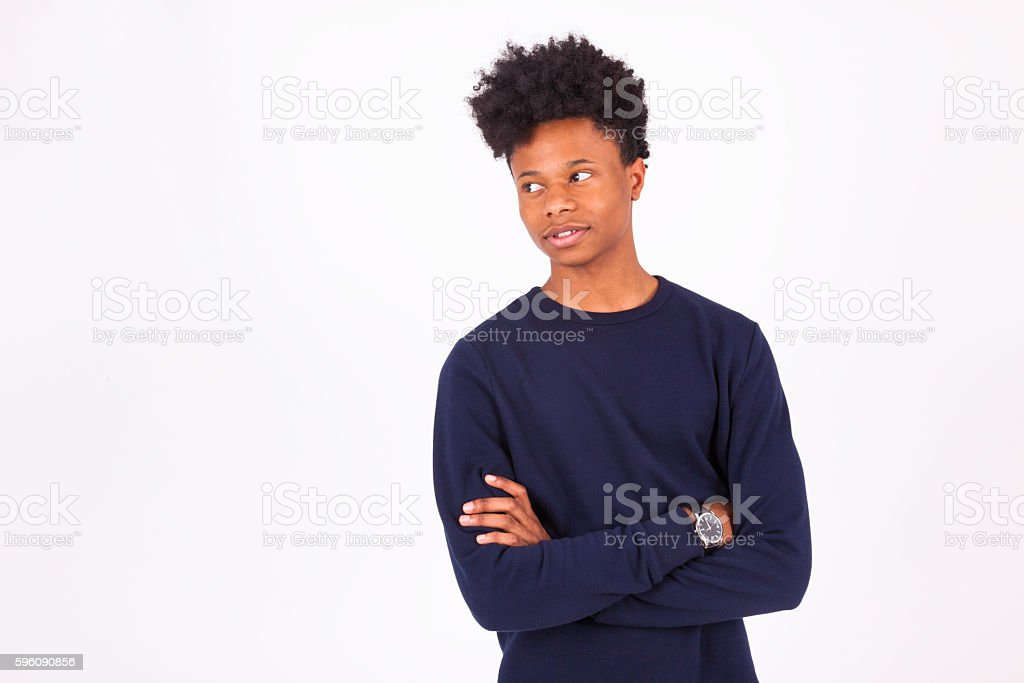 Happy young african american man isolated on white background - royalty-free stock photo