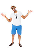 istock Happy Young African Male Model, Dressed Casually, Full-length Studio Shot 517927093