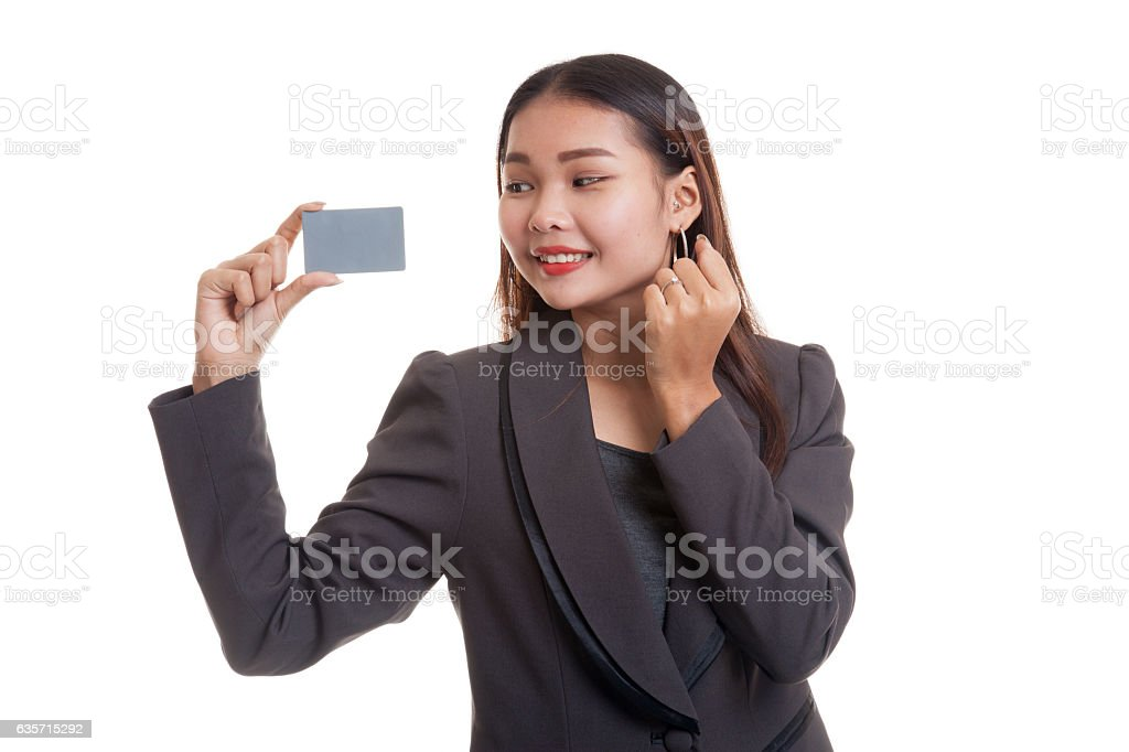 Happy young Asian business woman with a blank card. royalty-free stock photo