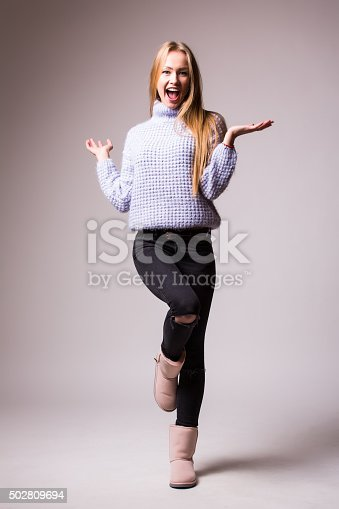 istock Happy Young Beautiful girl with different emotions. 502809694