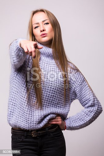 istock Happy Young Beautiful girl with different emotions. 502809884